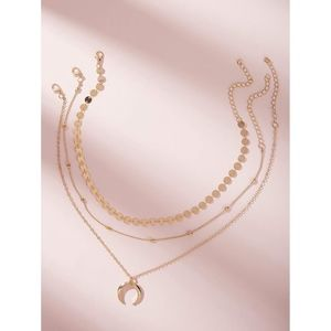 Gold Tone 3 Piece Layered Beads Moon Necklace Set